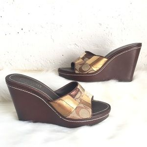 Coach Chelsea genuine leather brown & gold wedges